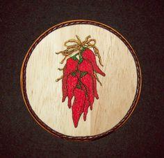 Chili Peppers Ristra Southwestern Kitchen Decor/Embroidery on Balsa Wood by WitchezStitchez on Etsy