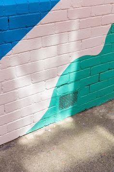 Colorful brick wall.