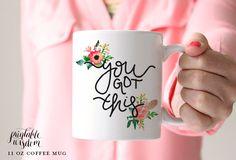 Coffee Mug, Ceramic mug, quote mug, you got this floral feather, Printable Wisdom, unique coffee mug gift coffee, hand lettered calligraphy by PrintableWisdom on Etsy