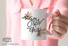 Coffee Mug, Ceramic mug, quote mug, you got this floral feather, Printable Wisdom, unique coffee mug gift coffee, hand lettered calligraphy by PrintableWisdom on Etsy