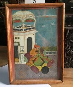 Antique Old Artist Fine Hand Painted King Romance Beautiful Miniature Painting