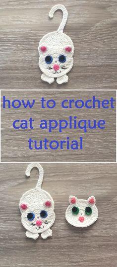 Crochet Motif How to Crochet Cat Applique Step by Step Crochet Applique Patterns Free, Crochet Motif, Crochet Flowers, Crochet Stitches, Crochet Baby, Cat Crochet, Free Pattern, Crochet Design, Crochet Cat Pattern
