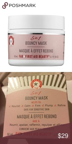 "First Aid Beauty 5 in 1 Bouncy Mask NIB A multitasking, single-step facial-in-a-jar that instantly perfects the appearance of the skin.  Solutions for: - Dullness/uneven skintone - Pores - Loss of firmness/elasticity This mask contains rose bud extract, marine botanicals, vitamin C, & pepha tight to improve skin in 5 ways: nourish, calm, firm, plump, & refine. The mask features an ultra-modern ""bouncy"" smart gel texture that retakes shape once applied to instantly deliver a dewy, refined…"