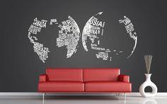 Vinyl Wall Decal Art Mural Home Decor  - '' World Map'' - 37.8''x80.7''