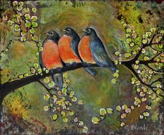 Birds Robins Family Portrait - Blenda Tyvoll
