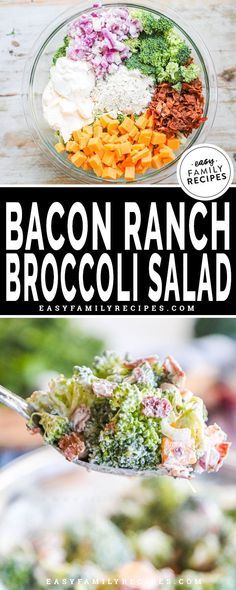 Bacon Ranch Broccoli Salad is the ultimate side dish! Packed with fresh broccoli, crispy bacon, cheddar cheese, and plenty of creamy ranch sauce, this recipe gives classic broccoli salad a whole new delicious twist! Easy Picnic Salad I have always had a love for picnic salads. Not only are they really delicious, and perfect for ... Read Post Camping Side Dishes, Cold Side Dishes, Potluck Side Dishes, Healthy Side Dishes, Dinner Dishes, Vegetable Side Dishes, Side Dishes Easy, Broccoli Side Dishes, Bacon Dishes