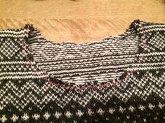 Cutting the neckline in Stranded and fairisle knitting. Fair Isle Knitting, Blackwork, Ravelry, Beauty, Neckline, Tops, Women, Tutorials, Fashion