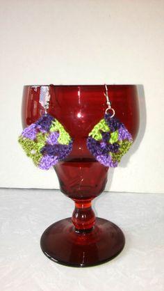 Square Earrings Multicolor Earrings Crochet Earrings by KnotsnMore