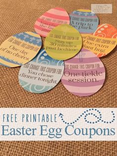 The first time I saw this idea I was smitten. Goodbye candy overload, hello super cute egg stuffers. These FREE Printable Easter Egg coupons will bring a smile to their faces!