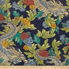 Dwell Studio Ming Dragon Admiral  Screen printed on cotton slub duck Colors include persimmon, yellow, cream, taupe, green, grey, light blue and navy blue.