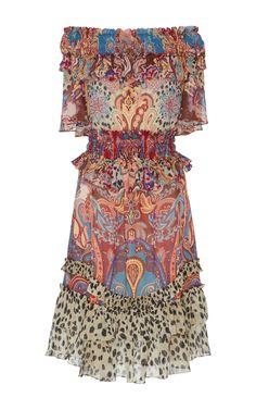 Roberto Cavalli Paisley-Print Georgette Dress