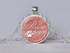 ANIMAL RESCUE PENDANT Rescue Mom Animal Paw by ThePendantGarden, $14.45