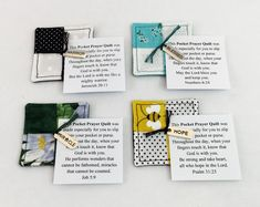 Mini Pocket Prayer Quilt Family with cross charm inside 2 inches square Co-workers Friends