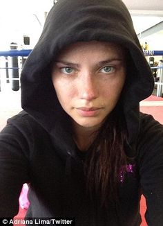 Last-minute workout: Adriana Lima, 31, uploaded pictures to her Twitter account post workout leading up to the Victoria's Secret show - she gave birth to her second child two months ago