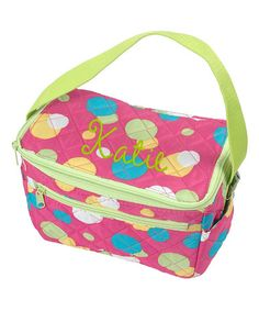 Love this Pink Dots Personalized Quilted Lunch Tote by Thread Art on #zulily! #zulilyfinds