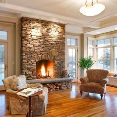 Firewood under fireplace.all about stone veneer stone fireplace surround to ceiling in living area Home Fireplace, House Design, Fireplace Remodel, Stone Fireplace Designs, Home Remodeling, Home, Hearth Room, Cozy House, Home Decor