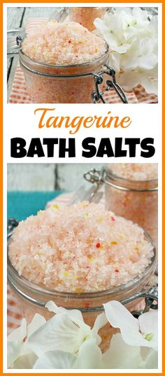 These homemade tangerine bath salts are full of relaxing, soothing ingredients! They're perfect for decompressing after a long day, or for giving as a gift!