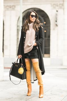 Comfy Knit :: Pleated long coat & Chunky jumper