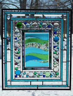 Wave Fused Glass Insert stained glass panel by Glitz & Grandeur.  Fused and soldered, with glass globs panel.