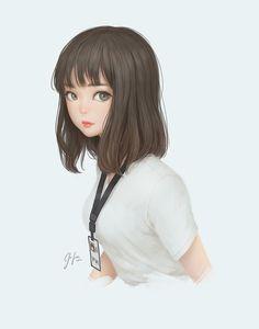 Yui by Geo Siador on ArtStation. Cute Cartoon Girl, Cool Anime Girl, Pretty Anime Girl, Cartoon Girl Drawing, Beautiful Anime Girl, Kawaii Anime Girl, Anime Art Girl, Peinados Pin Up, Girly Drawings