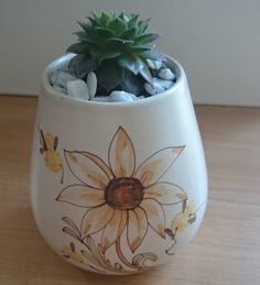 Mini Sempervivum potted succulent hens and chicks plant in a vintage hand painted pot  #succulents #Sempervivum #succulent #minigarden #terrarium #ceramicart #vintagepot #pottedplant #planter #succulentgarden #succulentlove