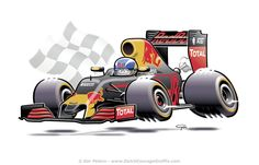 RB12 Red Bull Racing - Max Verstappen Formula One - cartoon #Max #Verstappen #Formula1 #cartoon