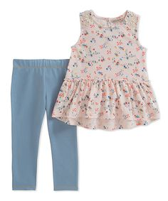 1732333682b760 Take a look at this Pink Floral Tunic & Leggings - Toddler & Girls today!