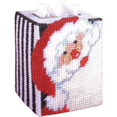 TOBIN-Plastic Canvas Kit. Guests will enjoy this fun Christmas design! This package contains a 7 count plastic canvas, acrylic yarn, needle and instructions. Design size: 5 inch tissue box. Design: Sa