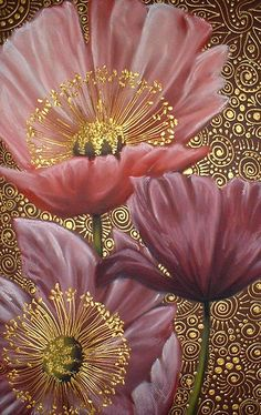 Three Pink Poppies by Cherie Dirksen. Poppies are one of my favorite painted flower. My grandmother painted some poppies for me. Art Floral, Pink Poppies, Silk Painting, Wow Painting, Pattern Painting, Painting Inspiration, Flower Art, Art Flowers, Scrappy Quilts