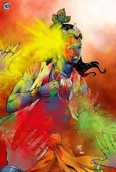 Krishna Holi 2020 - Festival of Colors Auckland, New Zealand Radha Krishna Holi, Krishna Leela, Cute Krishna, Krishna Art, Shree Krishna, Radhe Krishna, Holi Painting, Krishna Painting, Lord Krishna Images