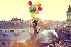 palloncini, colors, girls, jump, libertà, fashion, photo