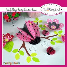 Printable Center Piece Co ordinates with Little Lady, INSTANT DOWNLOAD,  Lady bug party kit.. $5.95, via Etsy.