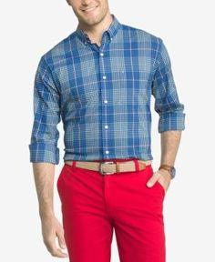 Izod Advantage Woven Plaid Shirt - Blue 2XL