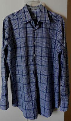 Peter Millar Mens Blue Plaid Shirt Size Medium Long Sleeve Button Collar Cotton #PeterMillar #ButtonFront