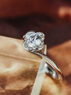 Four Leaf Clover Flower Diamond Engagement Ring - Praise