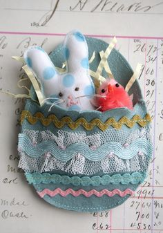Bunny and Chick in felt egg