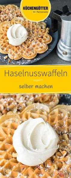 These hazelnut waffles have a wonderfully aromatic taste. These hazelnut waffles have a wonderfully aromatic taste. Mini Desserts, Lemon Desserts, Quick Healthy Desserts, Healthy Muffins, Muffins Sains, Greek Yogurt Recipes, Strawberry Recipes, Food Cakes, Ice Cream Recipes