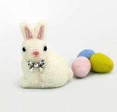 Easter Bunny Figurine Miniature Beaded White by MeredithDada, $50.00