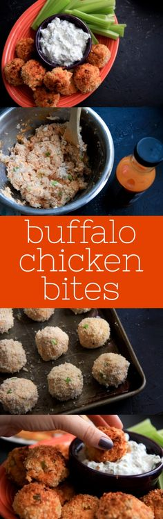 Baked Buffalo Chicken Bites ...Sub in shrimp for Buffalo Shrimp Bites & use alternative ingredients for cream cheese