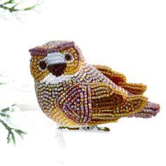Owl Christmas Ornament Beaded Clip-On Holiday Decoration Hostess Gift *READY TO SHIP