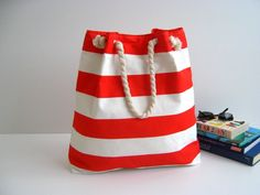 Sailor Tote Bag for market or beach or gym red and by bayanhippo, $33.00