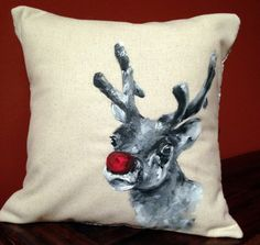 Rudolph Christmas Decoration- Hand Painted Reindeer Pillow