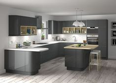 Here are the Dark Grey Kitchen Design Ideas. This article about Dark Grey Kitchen Design Ideas was posted under the Kitchen category by our team at August 2019 at am. Hope you enjoy it and don't forget to . Grey Gloss Kitchen, Modern Grey Kitchen, Grey Kitchen Designs, Gray And White Kitchen, Modern Kitchen Cabinets, Contemporary Kitchen Design, Grey Kitchens, Kitchen Cabinet Design, Kitchen Layout