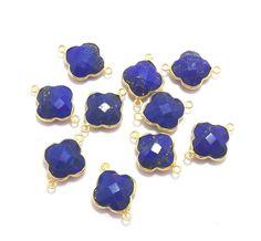 Christmas Sale Blue Sapphire Clover Shape 24k Gold Connectors, 14X14 mm Clover Shape / Handmade Bezel / Single Bail (PJ424200PJ) by PlantofJewel on Etsy