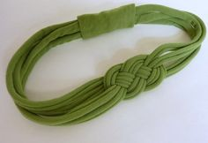 Moss Green SAILOR knot HEADBAND Upcycled by SweetSparrowDesign, $10.00