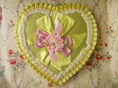 Large Vintage Valentine Heart Shaped Candy Chocolate Box Yellow Satin Fabric with Pink Ribbon and Fabric Flower 2 Pound