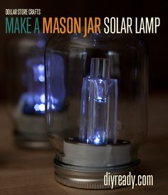 mason-jar-solar-lamp-01DIY. We lost our power twice already due to storms. The second time it happened, we got the idea to use our solar lights; FABULOUS light!! I plan to make these for the next round lol.
