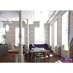 Papier peint briques blanches et brique : Papier peint chambre, pièce à vivre, Salle de bain à motifs