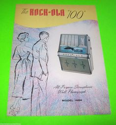 1484 WALL PHONOGRAPH 100 By ROCK OLA 1960 NOS ORIGINAL JUKEBOX FLYER BROCHURE #jukebox #rockola