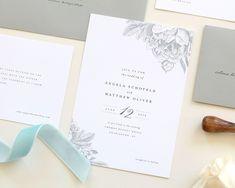 Dusty Blue Wedding Invitation Set | Soft Blue Wedding Invitations, Romantic Modern Floral Wedding Invitations, Vintage floral by TiedandTwo on Etsy https://www.etsy.com/listing/569341811/dusty-blue-wedding-invitation-set-soft